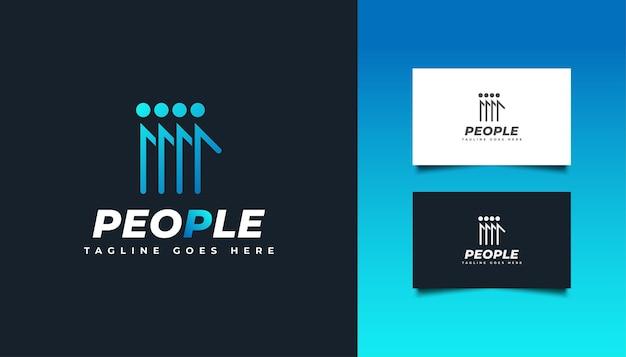 Mensen, gemeenschap, netwerk, creatieve hub, groep, sociaal verbindingslogo of pictogram voor bedrijfsidentiteit