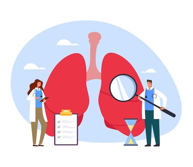 Mensen geneeskunde werknemers artsen verpleegkundige maken van geneeskunde diagnostisch onderzoek longen