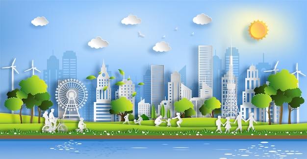 Mensen genieten van activiteiten buiten met eco-groen stadsconcept.