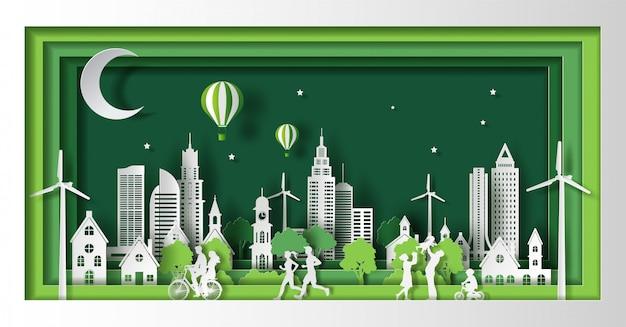 Mensen genieten van activiteiten buitenshuis, redden de planeet en het energieconcept, papier gesneden en ambachtelijke stijl.