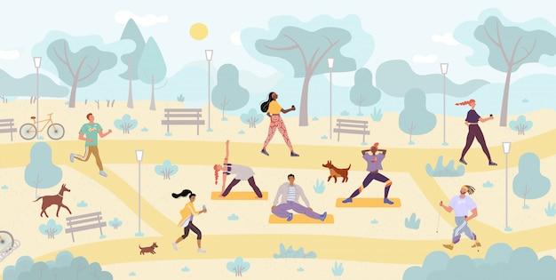 Mensen genieten van fysieke activiteit buiten in het park