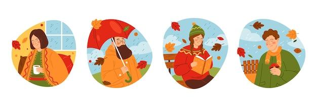 Mensen genieten van herfst seizoen vector labels set