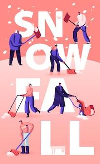 Mensen genieten van sneeuwval concept. cartoon vlakke afbeelding