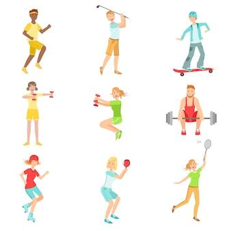 Mensen genieten van sportactiviteiten illustraties
