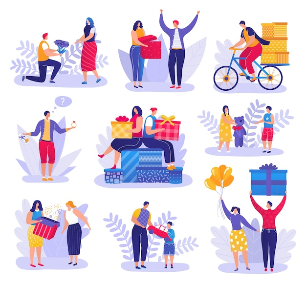 Mensen geven cadeautjes, geschenken aan vrienden, kinderen, geliefden, mannen, vrouwen en kinderen