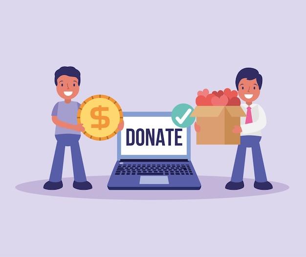 Mensen geven donatie in contanten en goede dingen cartoon afbeelding