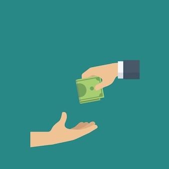 Mensen geven geld aan een andere hand als een goed doel. donatie concept