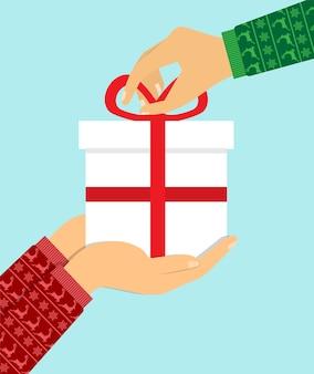 Mensen geven geschenken. maak een verrassing.