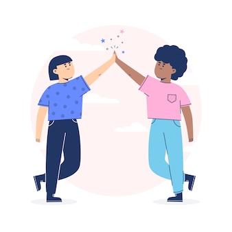 Mensen geven high five en schitteren
