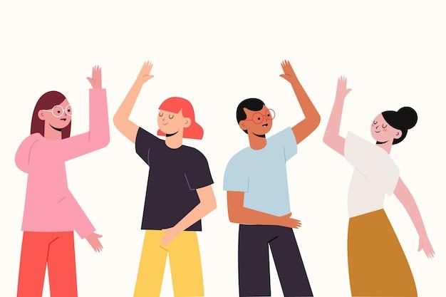 Mensen geven high five illustratie