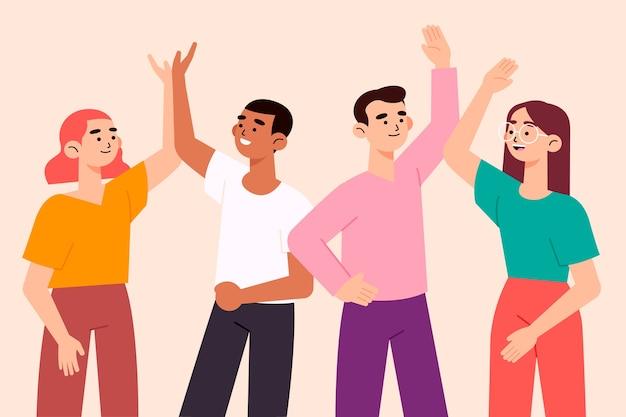 Mensen geven high five