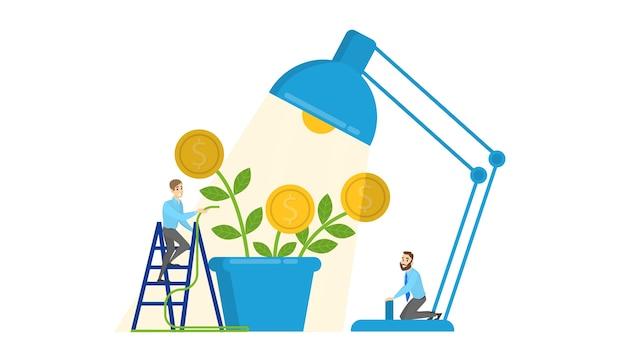 Mensen geven om een groeiende geldboom. zakenman en financiële rijkdom. idee van investeringen en financiële groei. winst en succes. geïsoleerde vectorillustratie in cartoon stijl