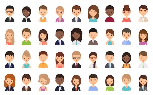 Mensen gezichten, avatars in plat design. illustratie.
