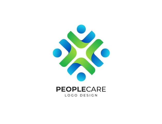 Mensen gezondheidszorg logo ontwerpsjabloon
