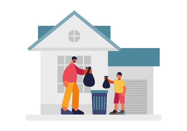 Mensen gooien afvalillustratie weg. man tevreden karakter en kind met zwarte plastic vuilniszakken voor ijzeren container. reiniging in privé-huis en op grondgebied vector plat.