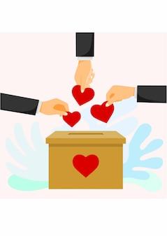 Mensen gooien harten in een doos voor donaties
