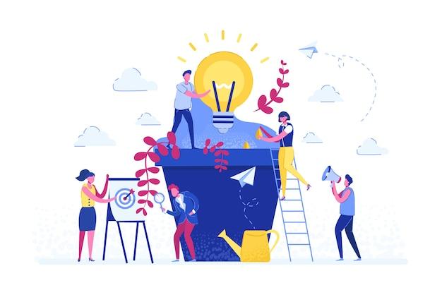 Mensen groeien potplanten, een metafoor voor de geboorte van een creatief idee banner