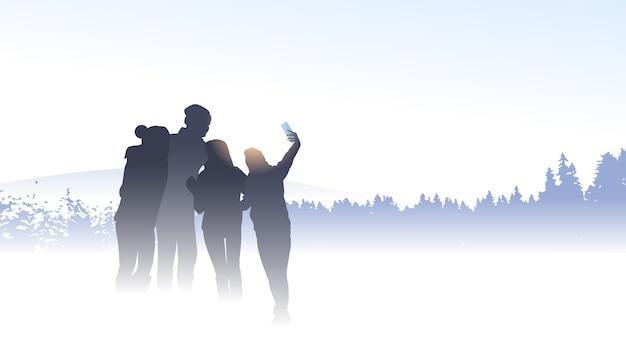 Mensen groep reiziger silhouet