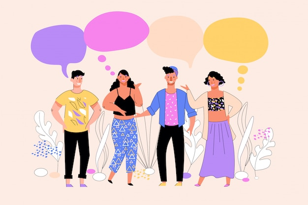 Mensen groeperen ondersteunende dialoog en communiceren, schets illustratie.