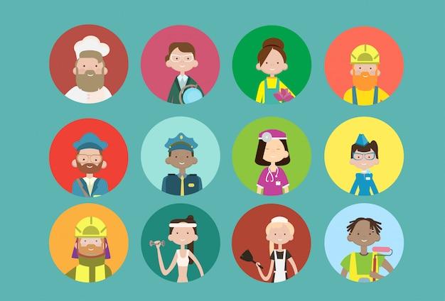 Mensen groeperen verschillende beroep avatar set, werknemers mix race werknemers