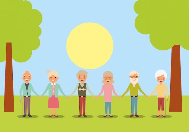 Mensen grootouders karakters