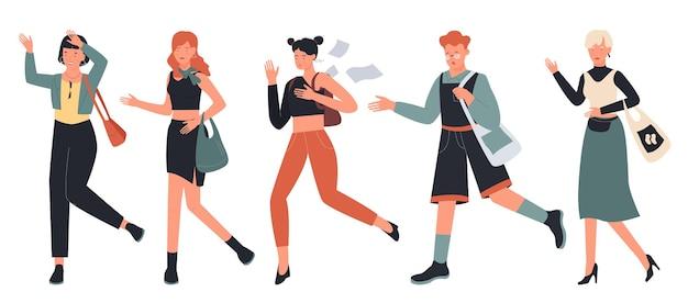 Mensen haasten zich en rennen illustratie set