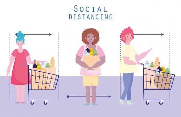 Mensen hamsteren aankoop, coronaviruspreventie, sociale afstand, karakters met winkelwagen en tas