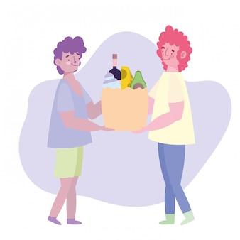 Mensen hamsteren aankoop, jonge man geeft markt voedsel tas