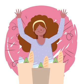 Mensen hamsteren aankoop, jonge vrouw met veel papieren zakken supermarkt