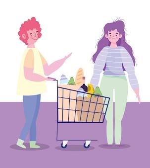 Mensen hamsteren aankoop, personages met winkelwagentje en zakvoedsel supermarkt