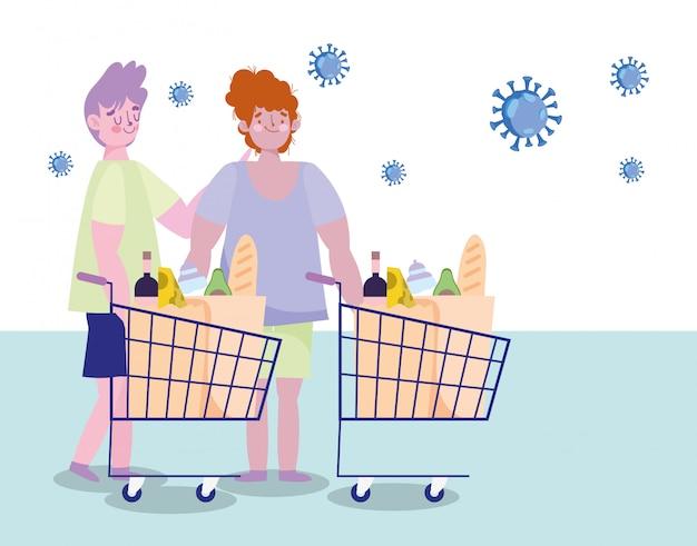Mensen hamsteren aankoop, twee mannen met supermarkt winkelwagentjes met voedsel
