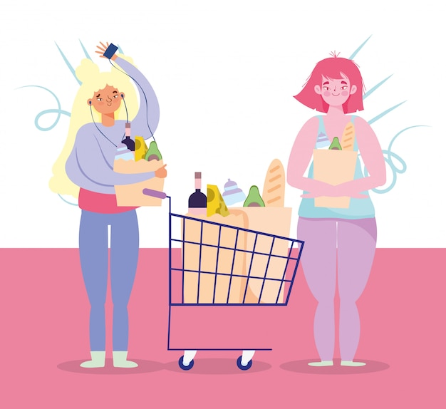 Mensen hamsteren aankoop, vrouw en meisje met winkelwagentje en tassen van supermarkt