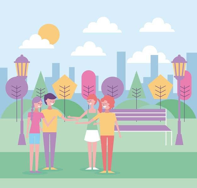 Mensen hand schudden in het park stedelijke achtergrond