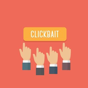 Mensen handen druk op clickbait knop. inhoud van aas en sociale media delen
