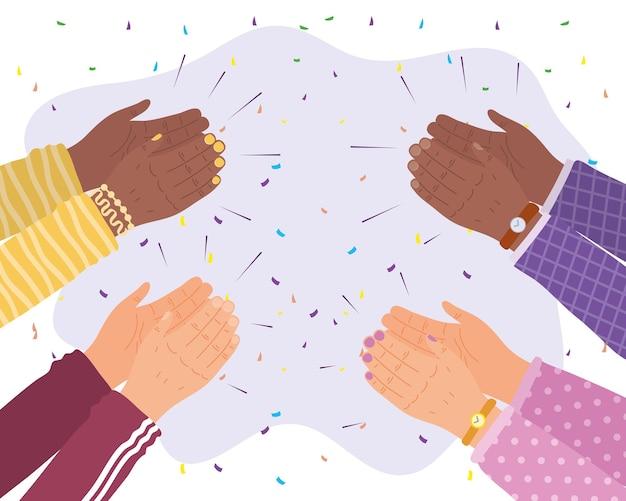 Mensen handen klappen vieren