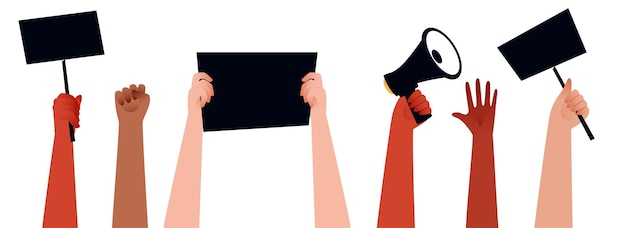 Mensen handen protesteren en houden megafoon, borden voor hun rechten op witte achtergrond.