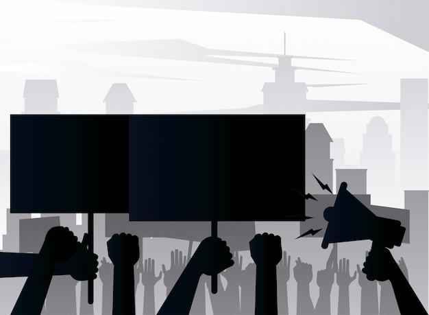 Mensen handen protesteren opheffing aanplakbiljet en megafoon silhouetten op de stad