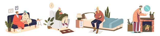 Mensen hebben binnenshuis last van kou en rillingen in huis. stripfiguren bedekt met dekens