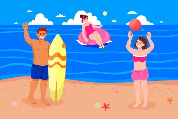 Mensen hebben een leuke tijd op het strand