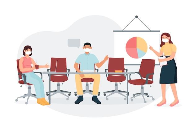 Mensen hebben een zakelijke bijeenkomst en houden afstand