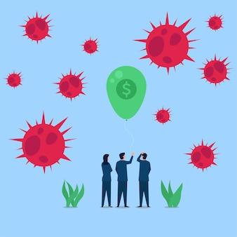 Mensen hebben er spijt van dat de fondsballon uit de lucht komt terwijl virussen in de buurt zijn