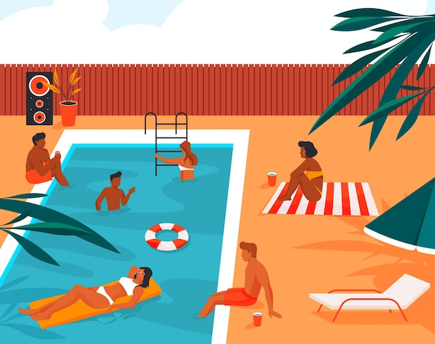 Mensen hebben plezier en genieten bij het zwembad