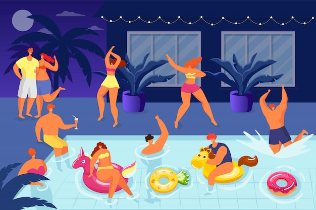 Mensen hebben plezier op het feest van de waterpool, de zomeravondvakantie met de illustratie van de gelukkige man vrouw. jong personage in bikini drinken, dansen en zwemmen. genieten van een cocktail in badkleding.