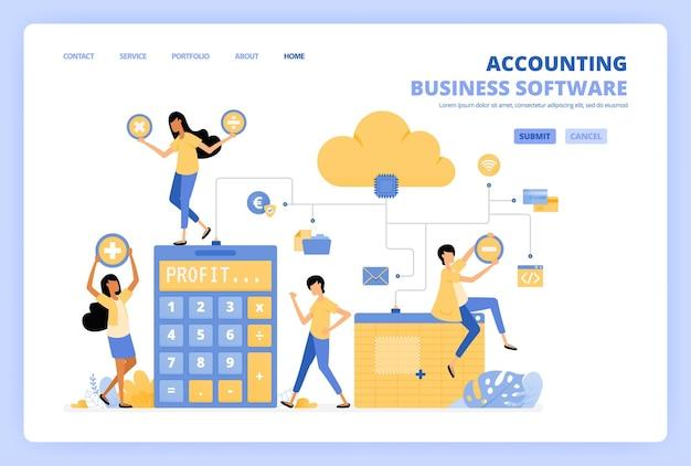 Mensen hebben toegang tot cloud-boekhoudsoftware met spreadsheets
