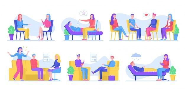 Mensen helpen bij psychotherapieën, praten met psycholoog, groepstherapie, hypnose, familiecollectie illustraties instellen.