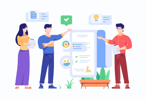 Mensen herzien en ondertekenen deal overeenkomst contract concept vlakke stijl ontwerp illustratie