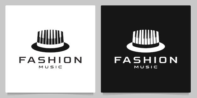 Mensen hoed muzikant en piano toetsen logo ontwerp creatieve concepten