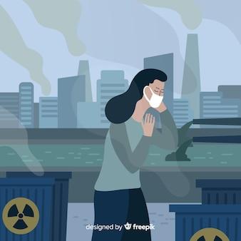 Mensen hoesten vanwege de vervuiling
