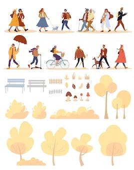 Mensen, hond, natuurpark object enorme herfst set
