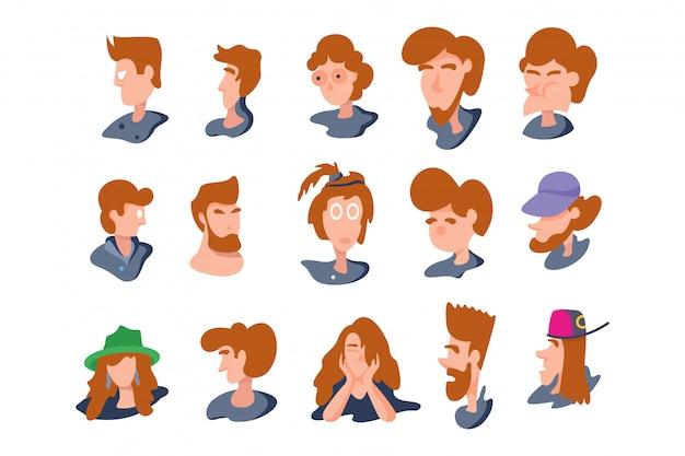 Mensen hoofd karakter op wit wordt geïsoleerd. vectorillustratie